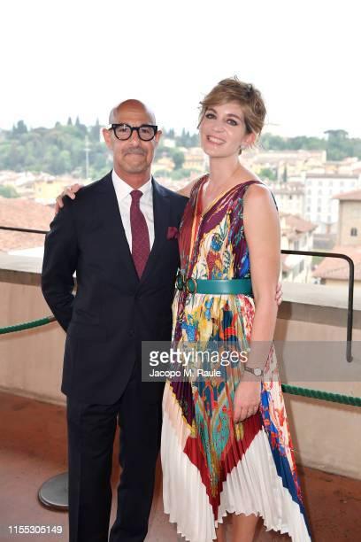 Stanley Tucci and Felicity Blunt attends the Salvatore Ferragamo Private Dinner at Palazzo Vecchio during Pitti Immagine Uomo 96 on June 11 2019 in...
