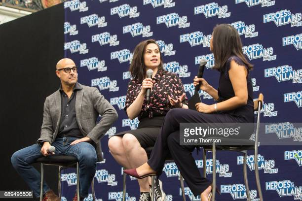 Stanley Tucci and Hayley Atwell take part in the Agent Carter Panel on day two of Heroes and Villians Convention at Olympia London on May 28 2017 in...