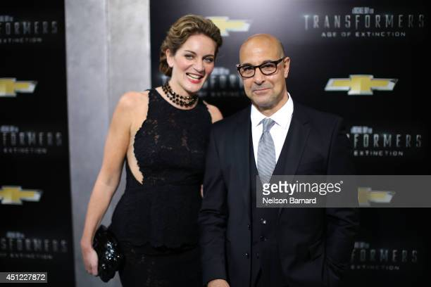 Stanley Tucci and his wife Felicity Blunt attend the New York Premiere of Transformers Age Of Extinction at the Ziegfeld Theatre on June 25 2014 in...