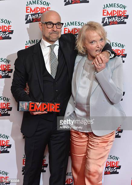 Stanley Tucci and Miranda Richardson pose in the winners room at the Jameson Empire Awards 2016 at The Grosvenor House Hotel on March 20 2016 in...
