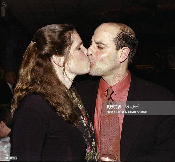 Stanley Tucci and wife Kate kiss during party for the movie Joe Gould's Secret at Gallaghers Restaurant Stanley is in the film