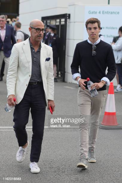 Stanley Tucci attends Men's Final Day at the Wimbledon 2019 Tennis Championships at All England Lawn Tennis and Croquet Club on July 14 2019 in...