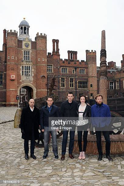Stanley Tucci Bryan Singer Nicholas Hoult Eleanor Tomlinson and Ewan McGregor attend a photocall for 'Jack The Giant Slayer' at Hampton Court Palace...