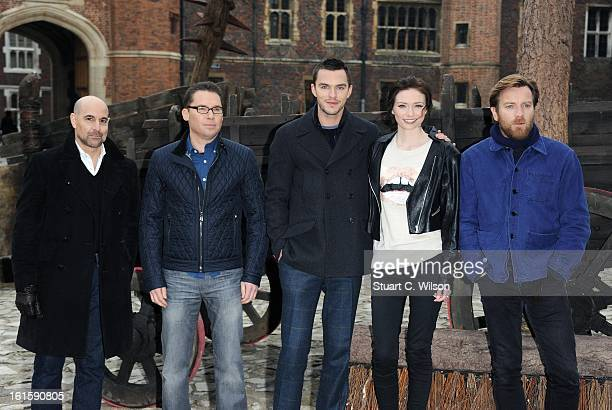 Stanley Tucci director Bryan Singer Nicholas Hoult Eleanor Tomlinson and Ewan McGregor attend a photocall for 'Jack The Giant Slayer' at Hampton...