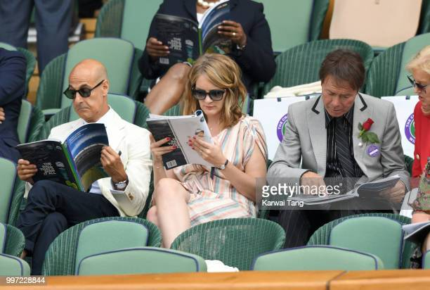Stanley Tucci Felicity Blunt and Sir Cliff Richard attend day ten of the Wimbledon Tennis Championships at the All England Lawn Tennis and Croquet...