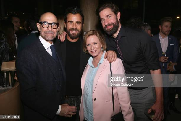 Stanley Tucci Justin Theroux Eve Plumb and John Krasinski attend 'A Quiet Place' New York Premiere After Party on April 2 2018 in New York City