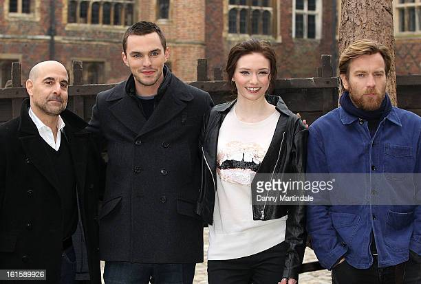 Stanley Tucci Nicholas Hoult Eleanor Tomlinson and Ewan McGregor attend a photocall for 'Jack The Giant Slayer' at Hampton Court Palace on February...