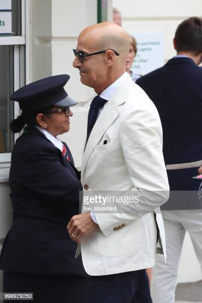 Stanley Tucci seen arriving at Wimbledon Day 10 on July 12 2018 in London England