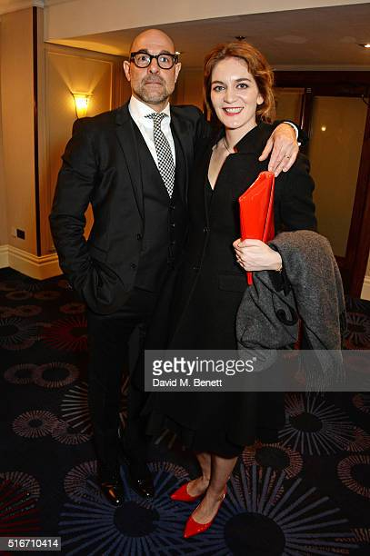 Stanley Tucci winner of the Empire Hero award and wife Felicity Blunt pose in the winners room at the Jameson Empire Awards 2016 at The Grosvenor...