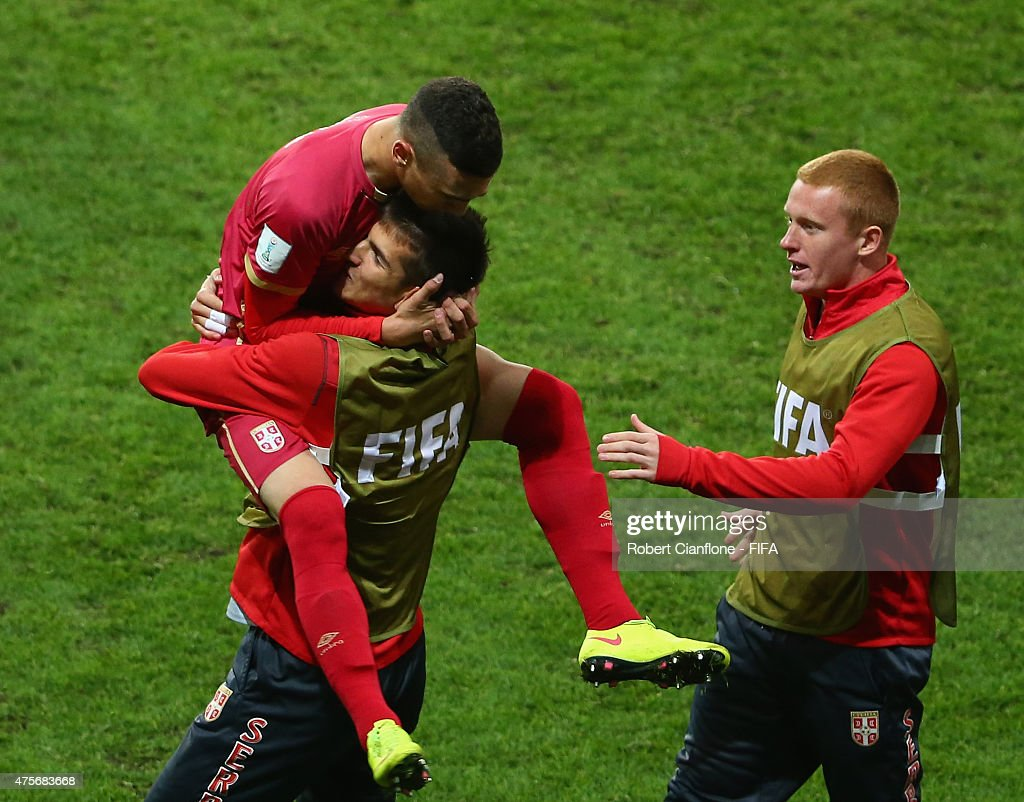 Stansia Mandic of Serbia celebrates with team mates after scoring a goal during the FIFA U-20 World Cup New Zealand 2015 Group D match between Serbia and Mali at Otago Stadium on June 3, 2015 in Dunedin, New Zealand.