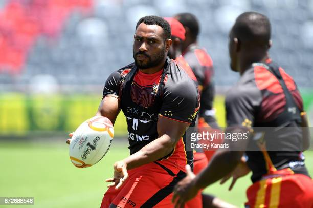 Stanton Albert passes the ball during a PNG Kumuls Rugby League World Cup captain's run on November 11 2017 in Port Moresby Papua New Guinea