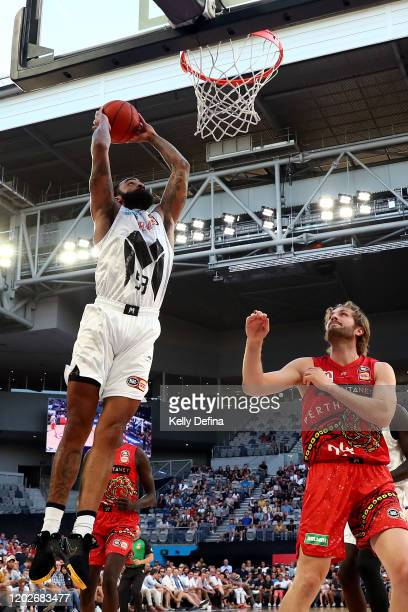 Stanton Kidd of United dunks during the round 18 NBL match between Melbourne United and the Perth Wildcats at Melbourne Arena on January 29, 2020 in...