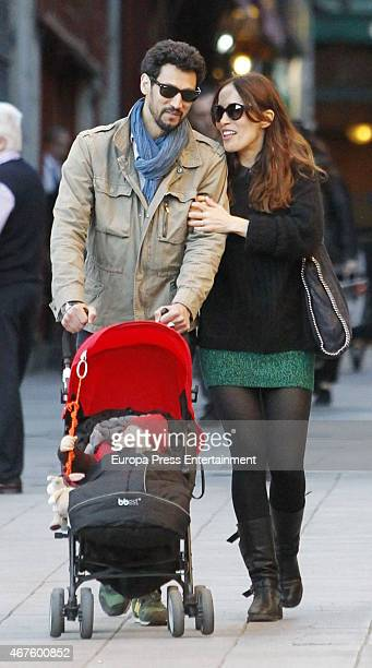 Stany Coppet Dolores Chaplin and their son Akilles Coppet are seen on March 06 2015 in Madrid Spain