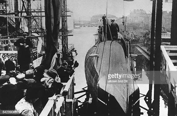 Stapellauf des polnischen UBootes'Orzel' auf einer holländischen Werftin Vlissingen1938