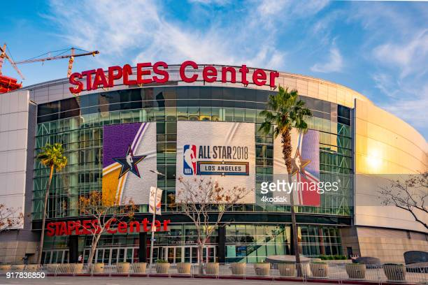 staple center sports arena in los angeles - performing arts center stock pictures, royalty-free photos & images