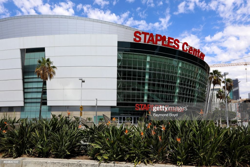 Staples Center, home of the Los Angeles Lakers, Los Angeles Clippers and Los Angeles Sparks basketball teams and Los Angeles Kings hockey team in Los Angeles, California on September 11, 2017.