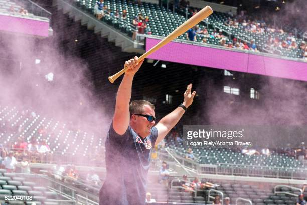 Star 94 Father's Day Gender Reveal on field presentation before the game against the Miami Marlins at SunTrust Park on June 18 2017 in Atlanta...