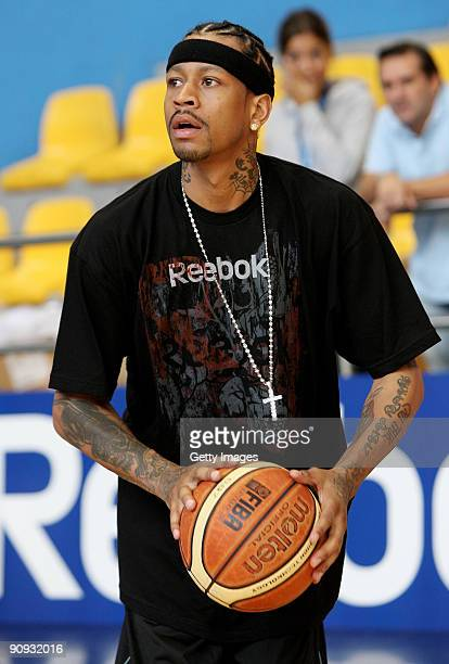 NBA star Allen Iverson of the Memphis Grizzlies trains during a visit to the Armani Jeans Milano Basketball team at the Palalido Stadium on September...