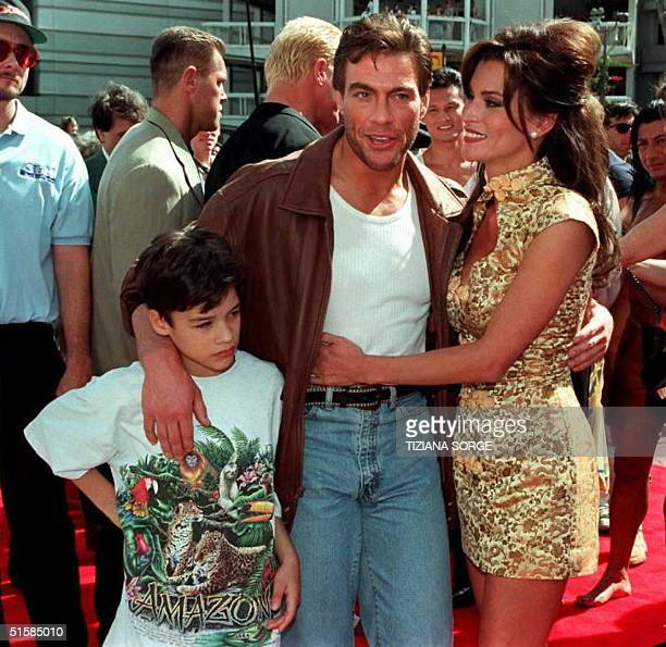 Star and director of the movie The Quest JeanClaude Van Damme poses with his son Christopher and wife Darcy La Peer at the movies premier 20 April in...