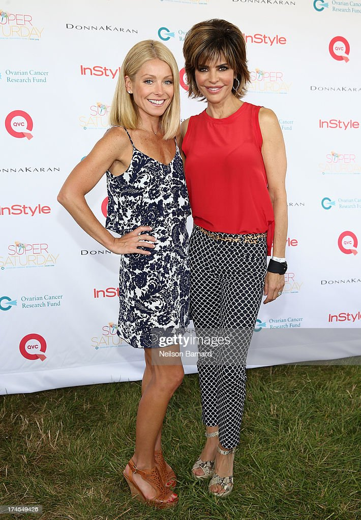Star and Host Kelly Ripa (L) and QVC Red Carpet Host Lisa Rinna attend QVC Presents Super Saturday LIVE! at Nova's Ark Project on July 27, 2013 in Water Mill, New York.