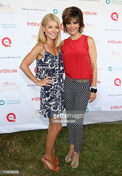 Star and Host Kelly Ripa and QVC Red Carpet Host Lisa Rinna attend QVC Presents Super Saturday LIVE at Nova's Ark Project on July 27 2013 in Water...