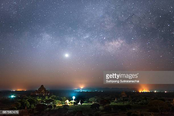 star and milky way over ancient pagoda in bagan , Myanmar