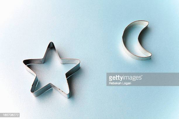 Star and moon shaped cookie cutters.