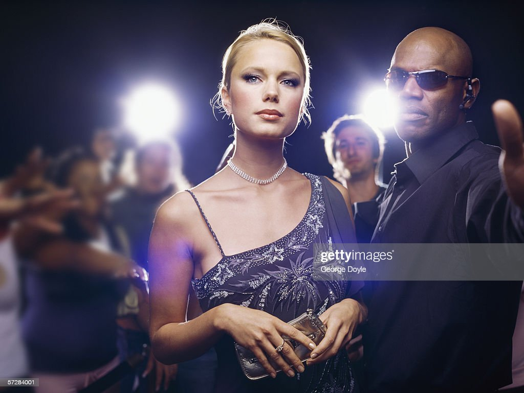 Star and security guard at  ceremony award : Stock Photo