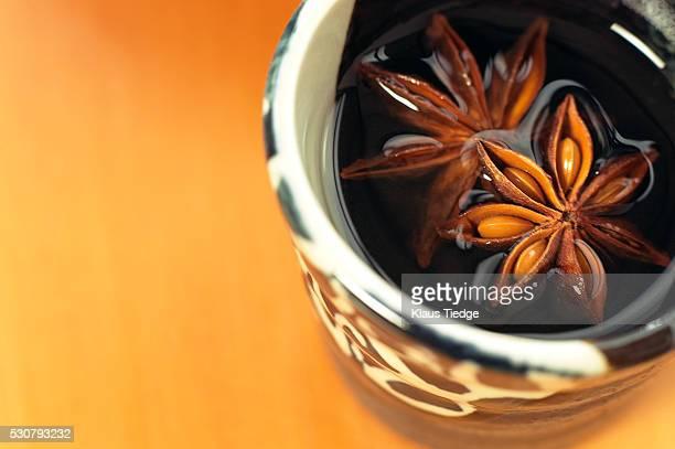Star Anise floating in herbal tea
