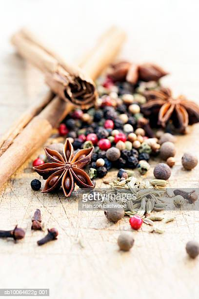 Star anise, peppercorns, cinnamon, cloves, fennel, coriander seeds (differential focus)
