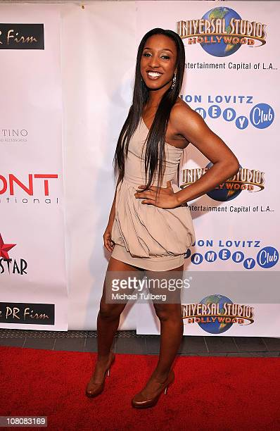 WNBA star Candice Wiggins arrives at Hollywood publicist Charmaine Blake's 1st Annual Golden Globes Viewing Party To Help Eliminate Child Trafficking...
