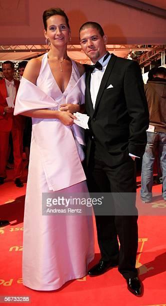Star chef Tim Maelzer and Nina Heik arrive for the 'Goldene Kamera' Award on February 2 2006 in Berlin Germany