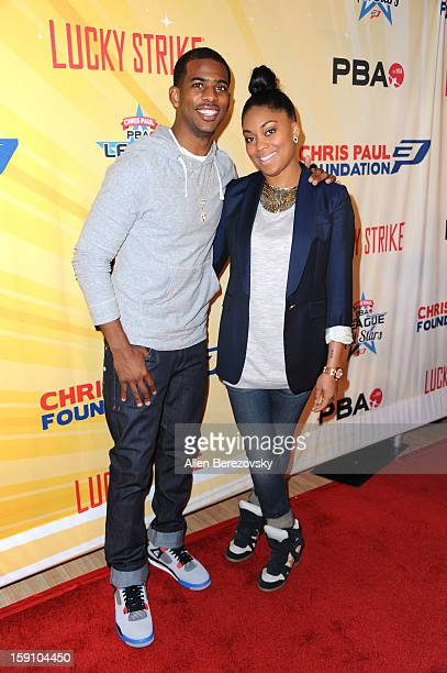 NBA star Chris Paul and wife Jada Crawley arrive at the 5th annual Chris Paul PBA AllStars Invitational hosted by LA Clippers star guard Chris Paul...