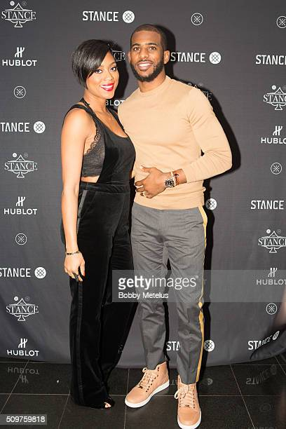 Star Chris Paul and wife Jada Paul at red carpet during the Dwyane Wade and Stance Stocks Spades Tournament at The One Eighty on February 11 2016 in...