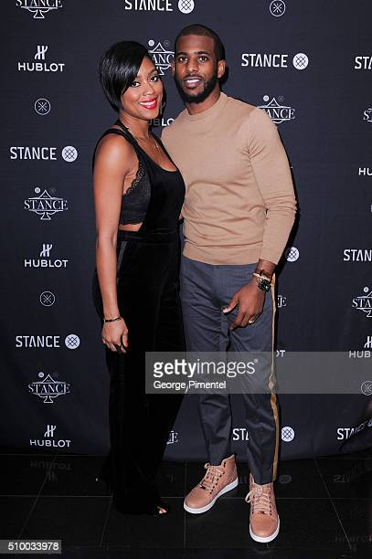 Star Chris Paul and wife Jada Paul attend the Stance and Dwayne Wade's Spade Tournament at The One Eighty on February 11 2016 in Toronto Canada