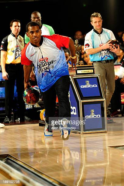 NBA star Chris Paul bowls at the 5th annual Chris Paul PBA AllStars Invitational hosted by LA Clippers star guard Chris Paul at Lucky Strike Lanes at...