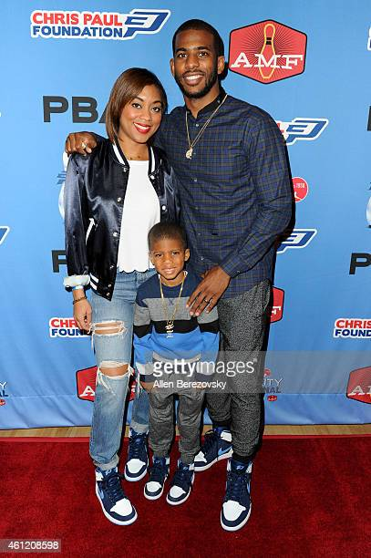 NBA star Chris Paul wife Jada Crawley and Chris Paul Jr attend the 6th Annual CP3 PBA Celebrity Invitational presented by AMF hosted by LA Clippers...
