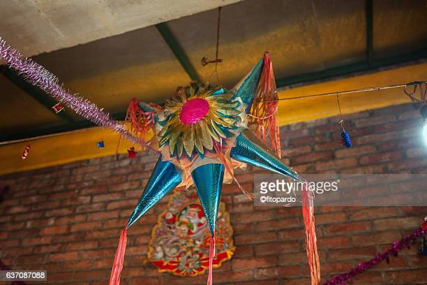 star christmas piñata - mexican christmas stock photos and pictures