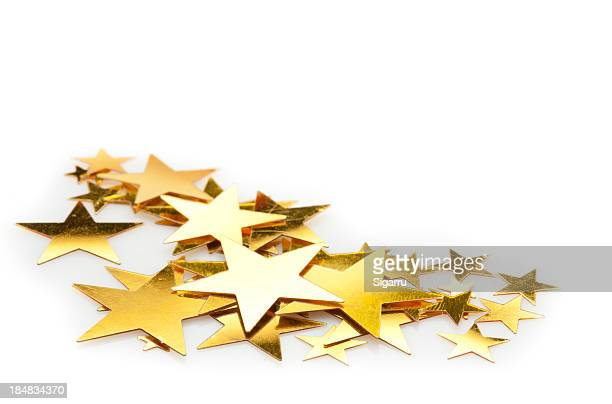star confetti - gold star stock pictures, royalty-free photos & images