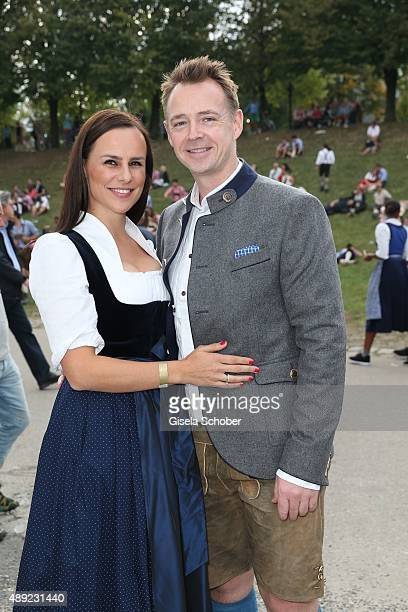 Star cook Holger Stromberg and his wife Nikita Stromberg during the Oktoberfest 2015 Opening at Hofbraeu beer tent at Theresienwiese on September 19...