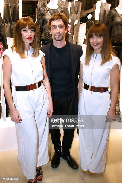 Star Dancer Benjamin Pech standing between Group Brigitte Aurelie Saada and Sylvie Hoarau attend the Handbag Jeff Koons Presentation during the...