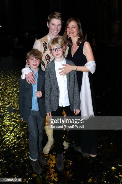 Star Dancer Karl Paquette his wife Marion Paquette with their children Leopaul and Sacha attend the Opera National de Paris celebrates the official...