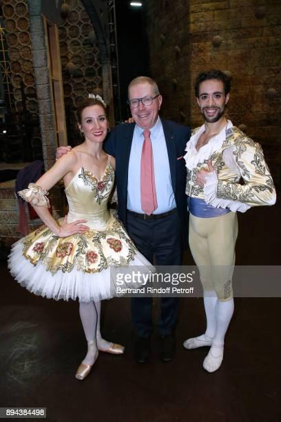Star dancer Ludmila Pagliero President of ''Opera National de Paris' Bernard Stirn and Star dancer Mathias Heymann pose after the performance of 'Don...