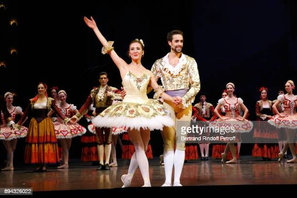 Star dancer Ludmila Pagliero Star dancer Mathias Heymann and Dancers acknowledge the applause of the audience at the end of 'Don Quichotte' during...