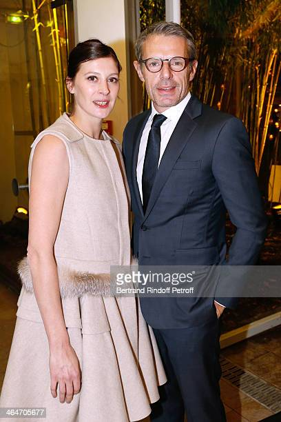 Star Dancer Marie-Agnes Gillot and actor Lambert Wilson attend the Sidaction Gala Dinner 2014 at Pavillon d'Armenonville on January 23, 2014 in...