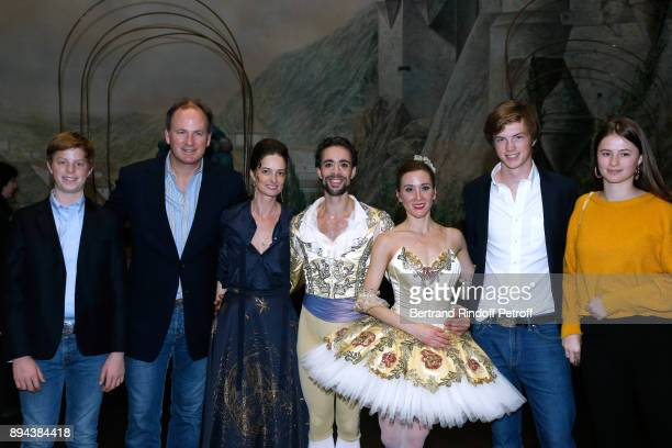 Star dancer Mathias Heymann Star dancer Ludmila Pagliero pose with Frederic Motte his wife President of the Event Angelique Motte and their children...
