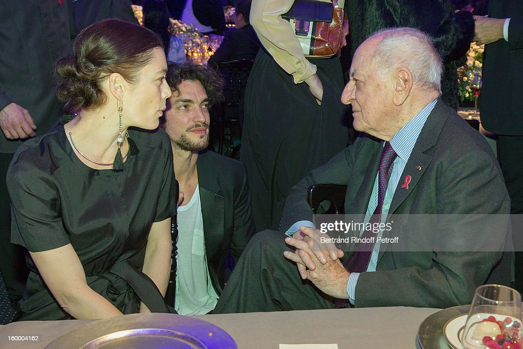 Star dancers Aurelie Dupont and Jeremie Belingard, and Pierre Berge attend the Sidaction Gala Dinner 2013 at Pavillon d'Armenonville on January 24, 2013 in Paris, France.