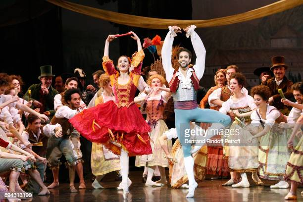 Star Dancers Mathias Heymann and Ludmila Pagliero performs in 'Don Quichotte' during the 32th 'Reve d'Enfants' Charity Gala at Opera Bastille on...