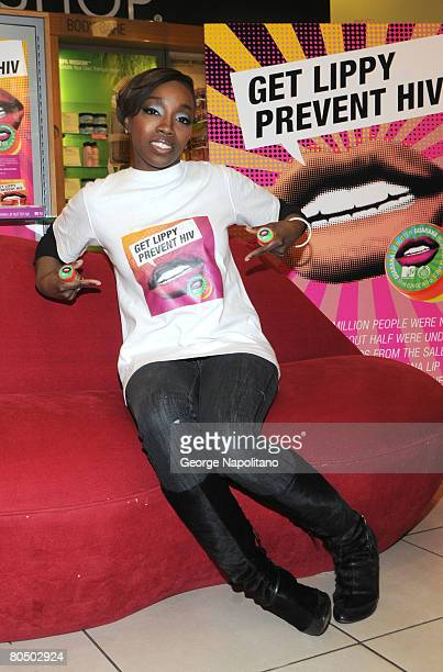 Star Estelle joins The Body Shop and MTV To launch HIV and AIDS Initiative at the Body Shop on April 3, 2008 in New York City.