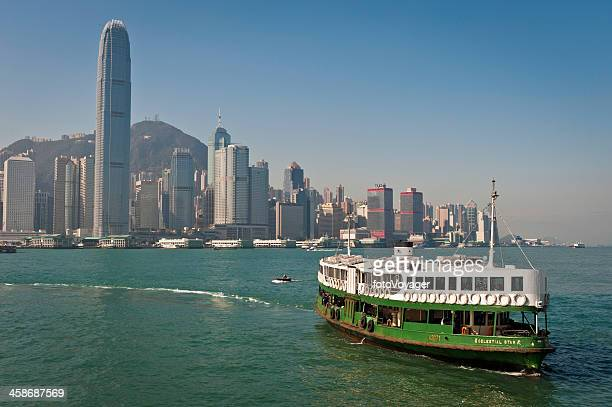 star ferry hong kong harbour skyscrapers china - star ferry stock photos and pictures